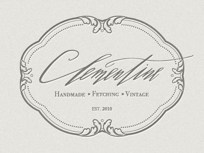 Clementine Store Logo logo vintage frame hand-drawn script retail calligraphy