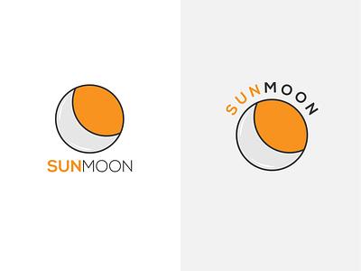 Sun Moon Iconic Logo Design mnimalist awesome logo design vector flat logo design minimal branding logo moon sun