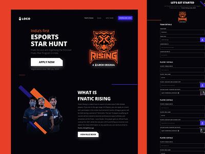 Fnatic Landing Page icon esports game design website minimal designer freelance ux ui