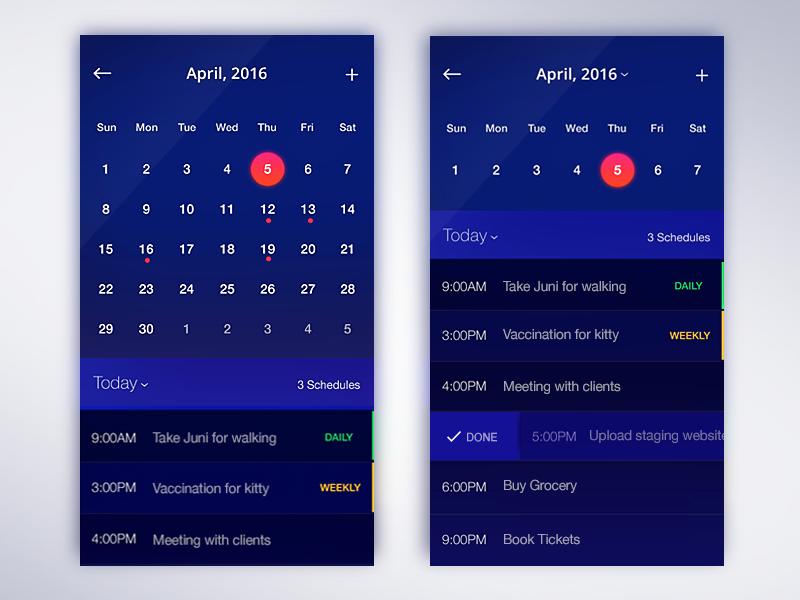 Calendar app ios reminder weekly date month material ux ui dailyui calendar