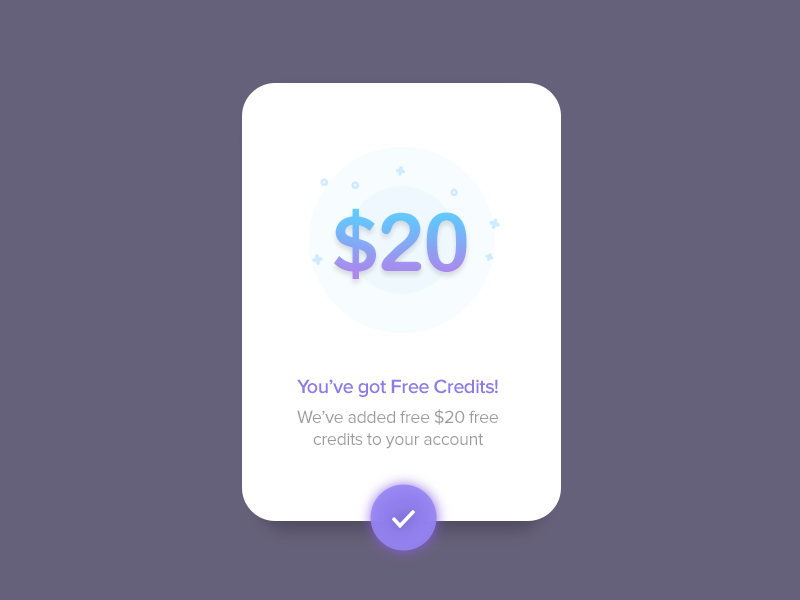 Free Credits - Modal blue app design ios android illustration ux ui modal minimal clean material