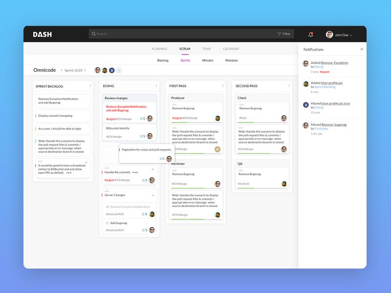 Dashboard project management clean cards web ux ui minimalist workflow kanban trello dashboard scrum