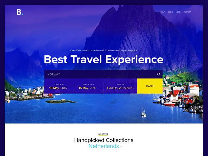 Booking.com website - Redesign concept landing page dailyui hotel booking trip website redesign travel booking.com ux ui