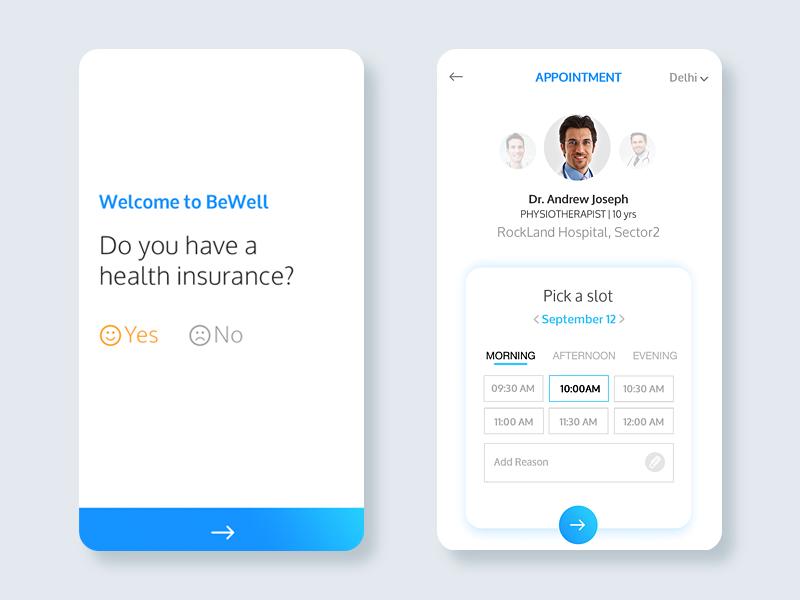 Bewell Health app minimal material ios insurance hospital slot booking doctor health insurance health app