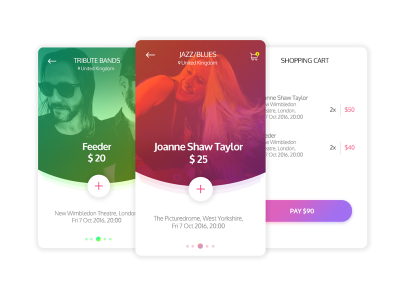 Event Ticket booking material android band show booking ticket ux ui app ios events
