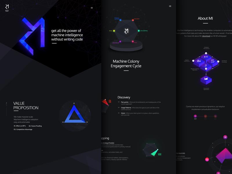 Machine Colony designer material machine black dark web illustration ux ui website