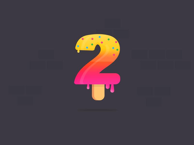 Dribbble Invites melt summer icecream typography 2 number 2 dirbbble invite shot player illustration invite dribbble