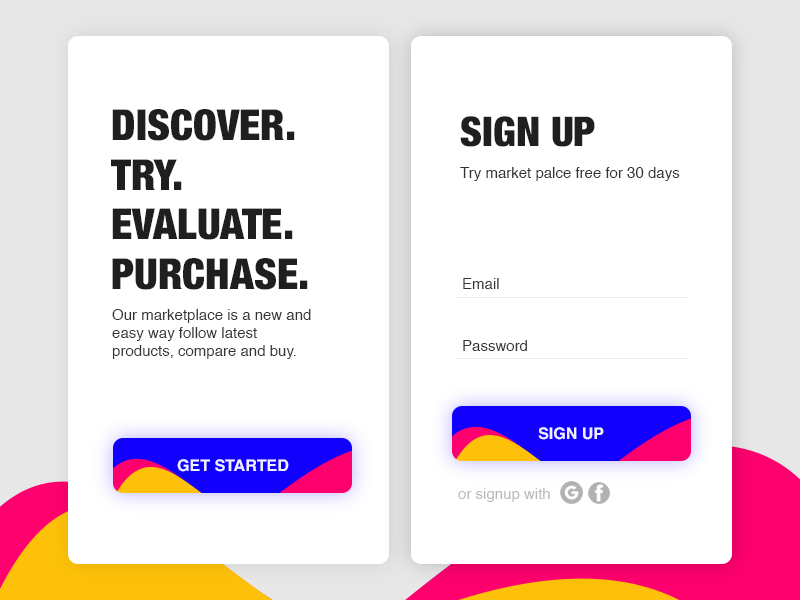 Signup freelance colorful minimal mobileapp material ios registration signup marketplace