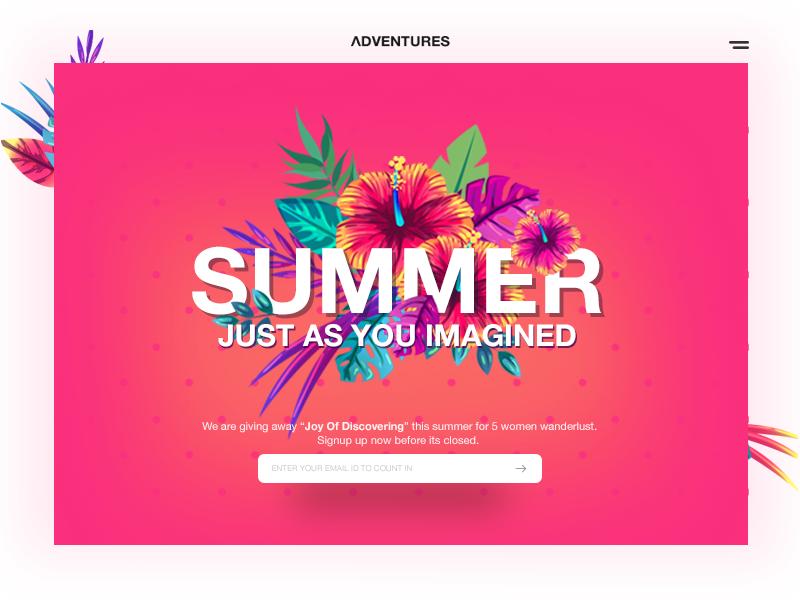 Summer Adventures material web ui freelance designer vacation trip websitedesign responsive mobileapp wanderlust travel