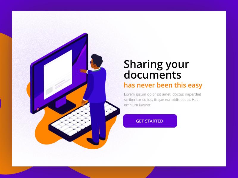 Document Sharing Website landing page minimal designer freelance isometric illustration typography ux ui website share document