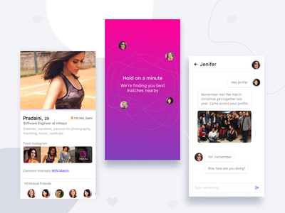 Dating app screens minimal material website designer freelance designer uiux ui chat loader searching profile dating