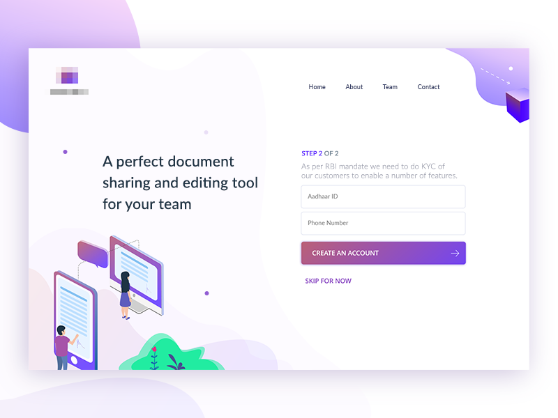 Registration Page designer freelance material sharing document registration login signin signup illustration mobile isometric