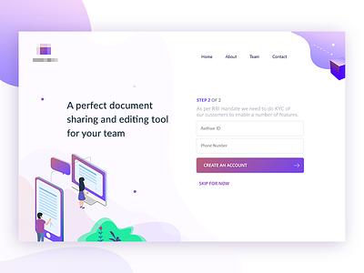 Registration Page designer freelance material sharing document registration login signin signup illustration mobile isometric