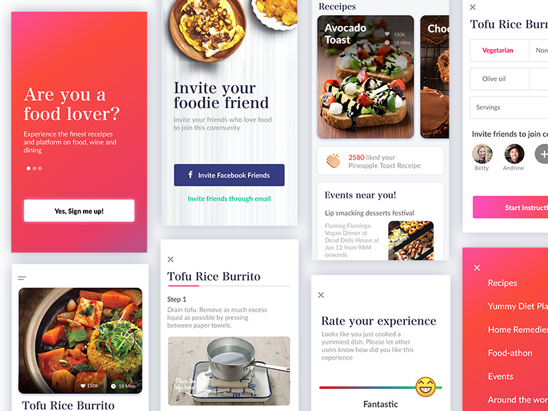Recipe App Screens