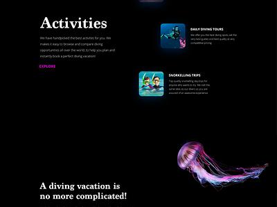 Scuba booking website diving mobile first designer freelance activities water ux ui website booking snorkelling scuba