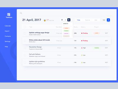 Task webapp minimal app design platform interface task management dashboard interface design website minimal designer freelance ios ux ui