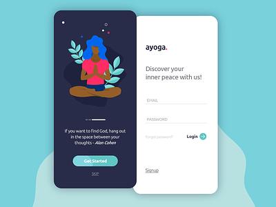 Login Screens health peace walkthrough signup login yoga art ilustration app website designer freelance ios ux ui