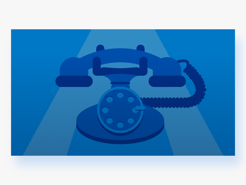 Rotary Dial Telephone illustrator clean minimal modern blue icon simple graphic design illustration flat vector