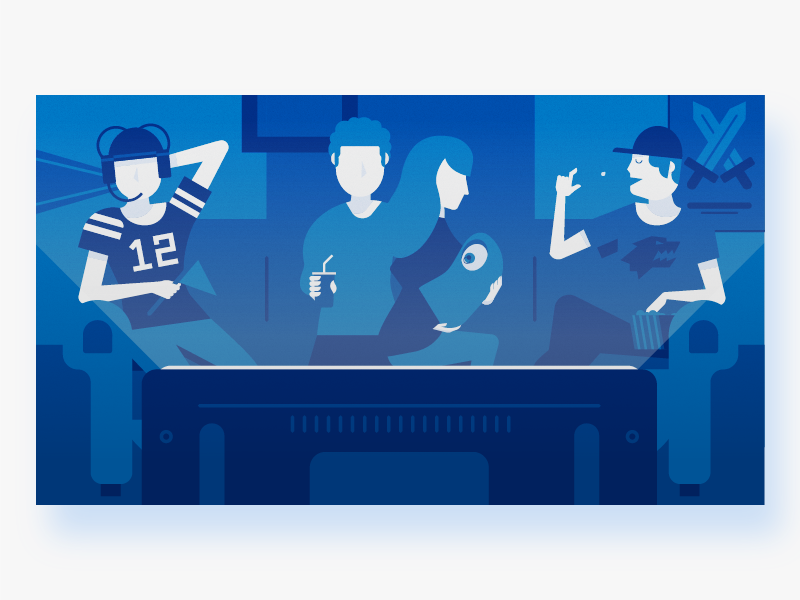 Which Fan are You? modern blue tv family got sports simple graphic design illustration flat vector