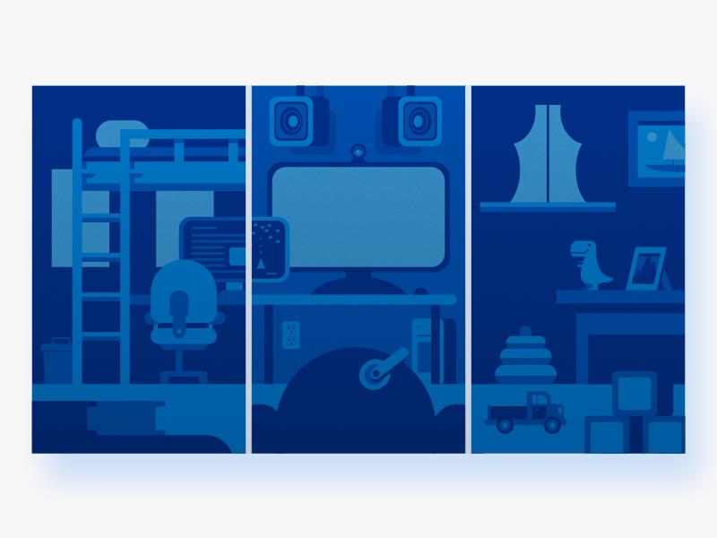 Bedroom Setups modern blue gaming technology bedroom truck dinosaur graphic design illustration flat vector