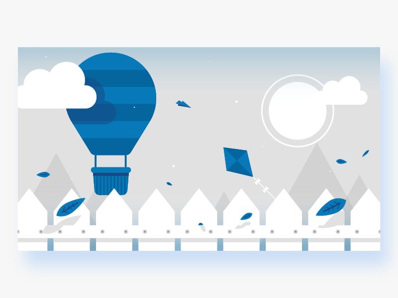 Balloon Ride modern blue fly kite illustrator balloon simple graphic design illustration flat vector