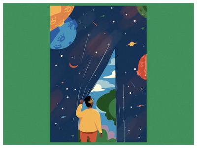 Break away from the night illustration design