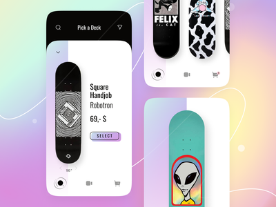 Build your Skateboard concept concept believe alien skate skateboards skateboard design gradient button app mobile ux ui