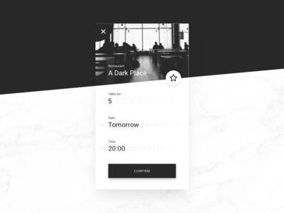 Confirm Reservation time date marble dark restaurant reservation confirmation confirm ux ui daily