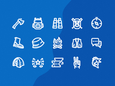 Outdoors Icon Set camping axe ux ui daily adventure fishing fish water outdoors icons