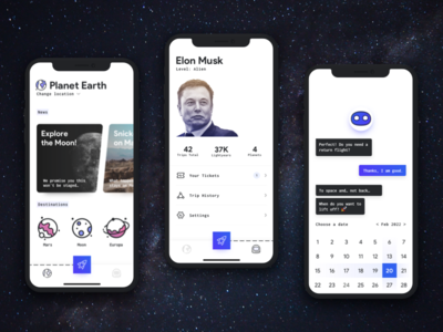 SPACED App Concept galaxy rocket space planet musk elon bot caht travel mobile app spaced