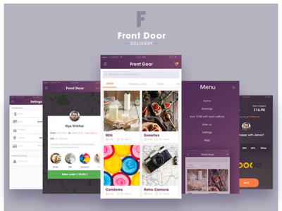 Front-Door Delivery iOS App flat design ui ux prototype iphone minimal application delivery product ios