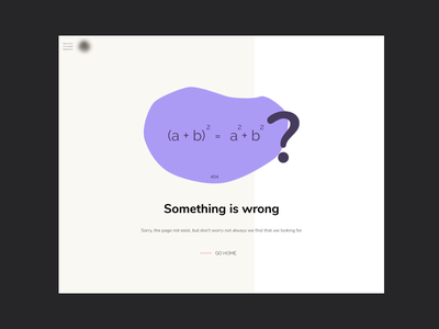 Error page 404 page not found web math minimalism webpage ui design page error 404
