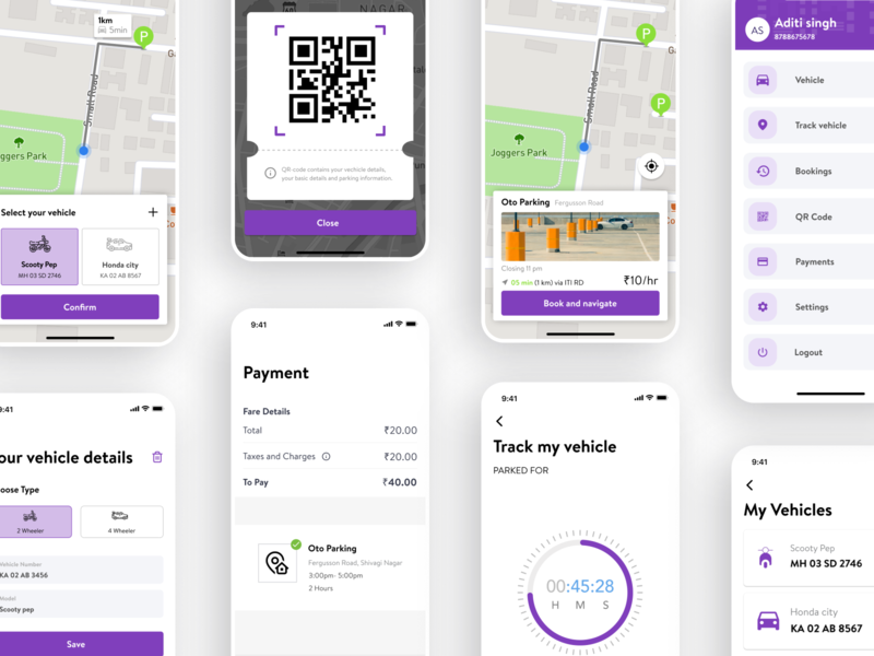 Parko - Mobile parking app mobile app ios parking ux design ui design ui modern search car vehicle app screens car parking digital payment track vehicle scan map location spot parking lot parking app