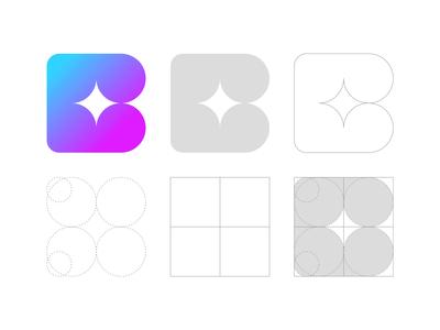 Star B Letter Logo Grid