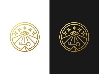 Secret Knowledge Logo sunny key egyptian pyramid knowledge secret eye of providence eye mason monogram pictogram minimalistic logo symmetric modern minimalistic gennady savinov logo design logo design geometric clean abstract