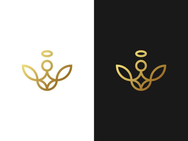 Angel Monogram Logo - For Sale for sale unused buy for sale buy logo god church logo holy angel logo angel pictogram monogram branding gennady savinov logo design minimalistic logo symmetric modern minimalistic logo design geometric clean abstract