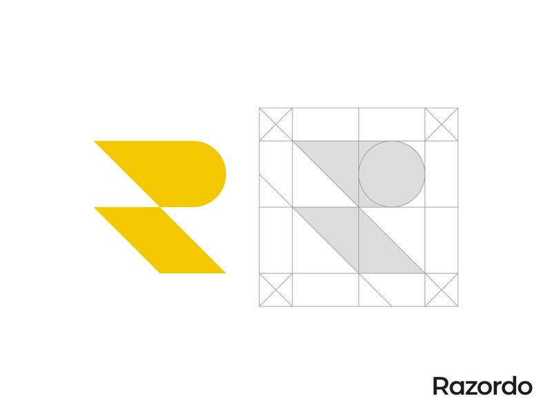 Razor R Letter Logo Grid lesson yellow logo sharp razor r symbol r letter r logo pictogram branding gennady savinov logo design minimalistic logo symmetric modern minimalistic logo design geometric clean abstract