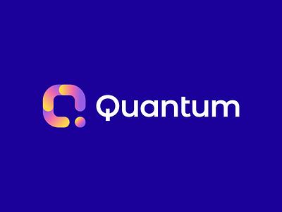 Quantum Logo media software logo dot q logomark smart logo fresh brand identity branding brand software geometric gradient modern gennady savinov logo design logo design q logo design q letter q logo