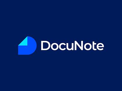 DocuNote Logo document logomark buy logo professional geometric brand identity branding gennady savinov logo design note creative app logo blue abstract modern d symbol d letter logo d letter d logo