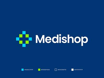 Medishop Logo pharmacy professional creative abstract green logomark minimalistic logo logo design buy logo brand identity branding brand symmetric geometric fresh clean modern gennady savinov logo design medical cross