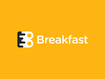 Breakfast Logo gennady savinov logo design food delivery service professional buy logo logo design brand identity branding brand fun creative yellow eggs breakfast b logomark b letter b logo geometric modern abstract
