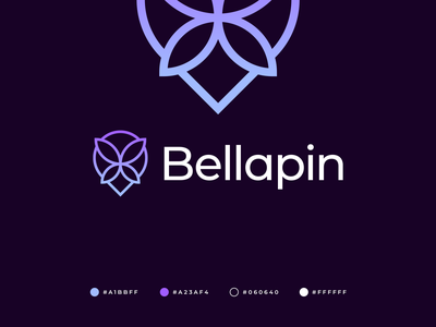 Bellapin Logo beauty salon communication people connection corporate quality professional buy logo brand identity branding map pin butterfly logo logo design modern abstract beauty monogram pin butterfly gennady savinov logo design
