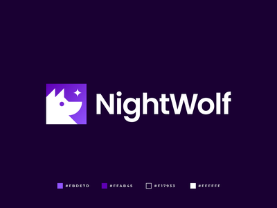 NightWolf Logo wolf logo dog design brand branding creative communication software animal star wolf modern geometric abstract logo design gennady savinov logo design
