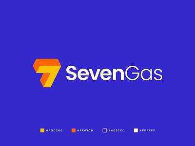 SevenGas Logo graphic design logo brand identity brand branding modern abstract symmetric geometric professional business logo gasoline gas logo gennady savinov logo design logo design 7 logo seven logo 7 seven