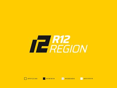 R12 Region Logo 12 logo r letter r logo dynamic sport monogram quality logo professional logo auto parts auto service graphic design symmetric brand identity branding modern abstract geometric logo design gennady savinov logo design auto logo