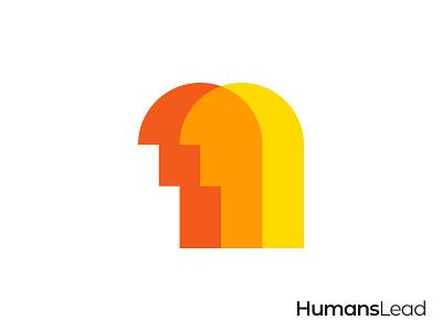 Humans Lead Logo people logo human logo orange overlapping gennady savinov logo design pictogram minimalistic logo symmetric modern minimalistic logo design geometric clean abstract
