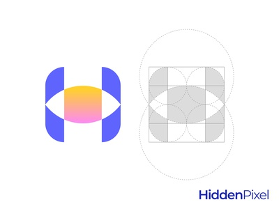 Eye H Letter Logo Grid