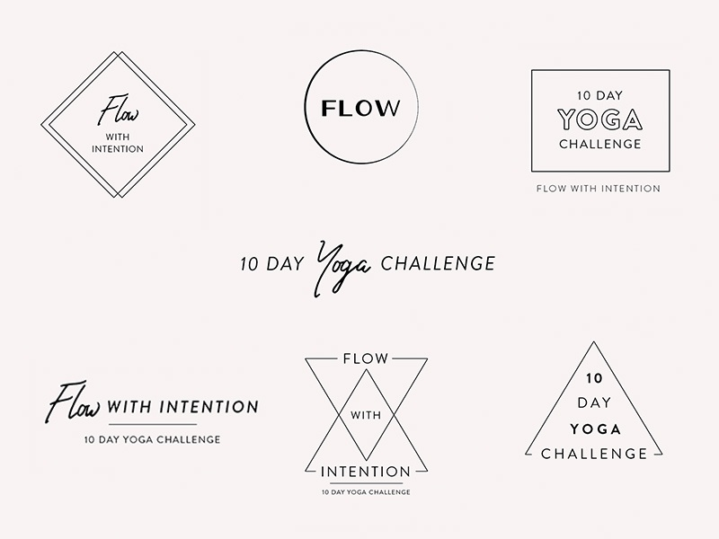 Yoga Challenge Wordmarks script flow light festival video inspiration logo yoga branding wordmarks