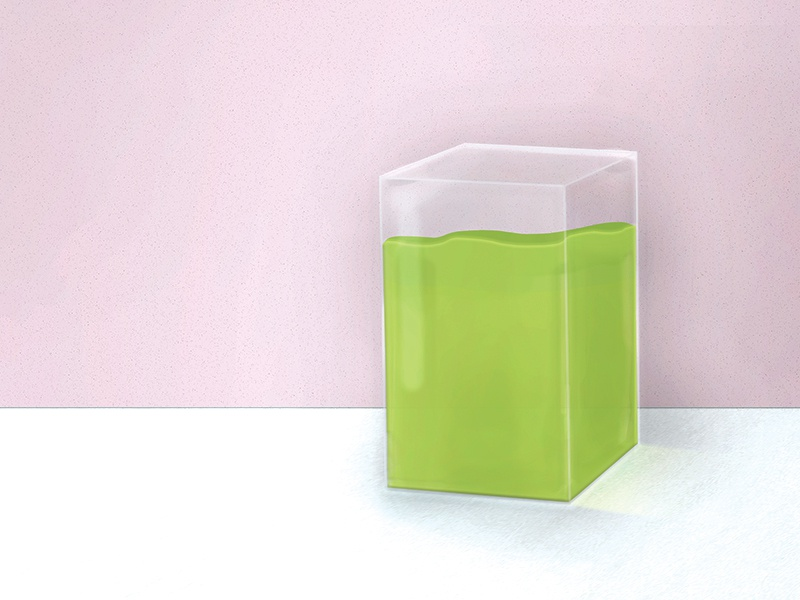 Juice Box 1 prism concept art model rendering clear health smoothie greens liquid 3d illustrationm drawing acrylic glass juice