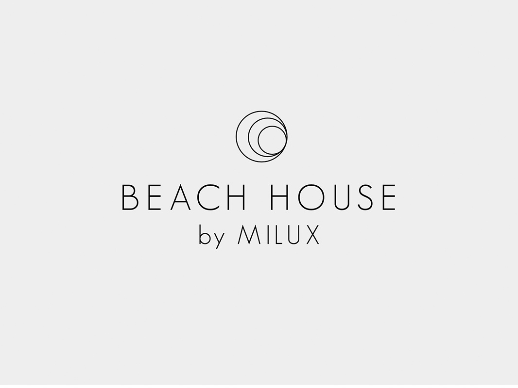 Beach House Logo circle california hotel wordmark minimal wave house beach luxury brand logo